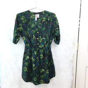 Mimi Chicka short shirt dress green print floral S